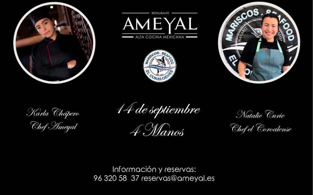 Cena a cuatro manos – 14 de septiembre 2018 – Restaurante Ameyal